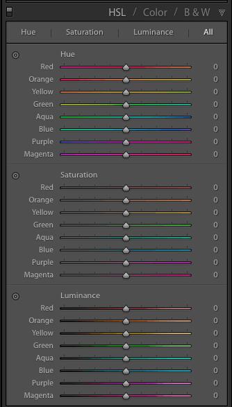 Lightroom cores e presets