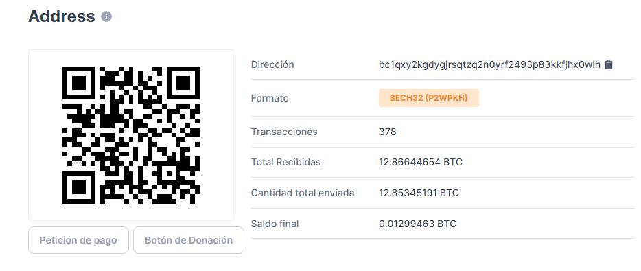 Dirección utilizada para recibir los fondos. Fuente: Blockchain