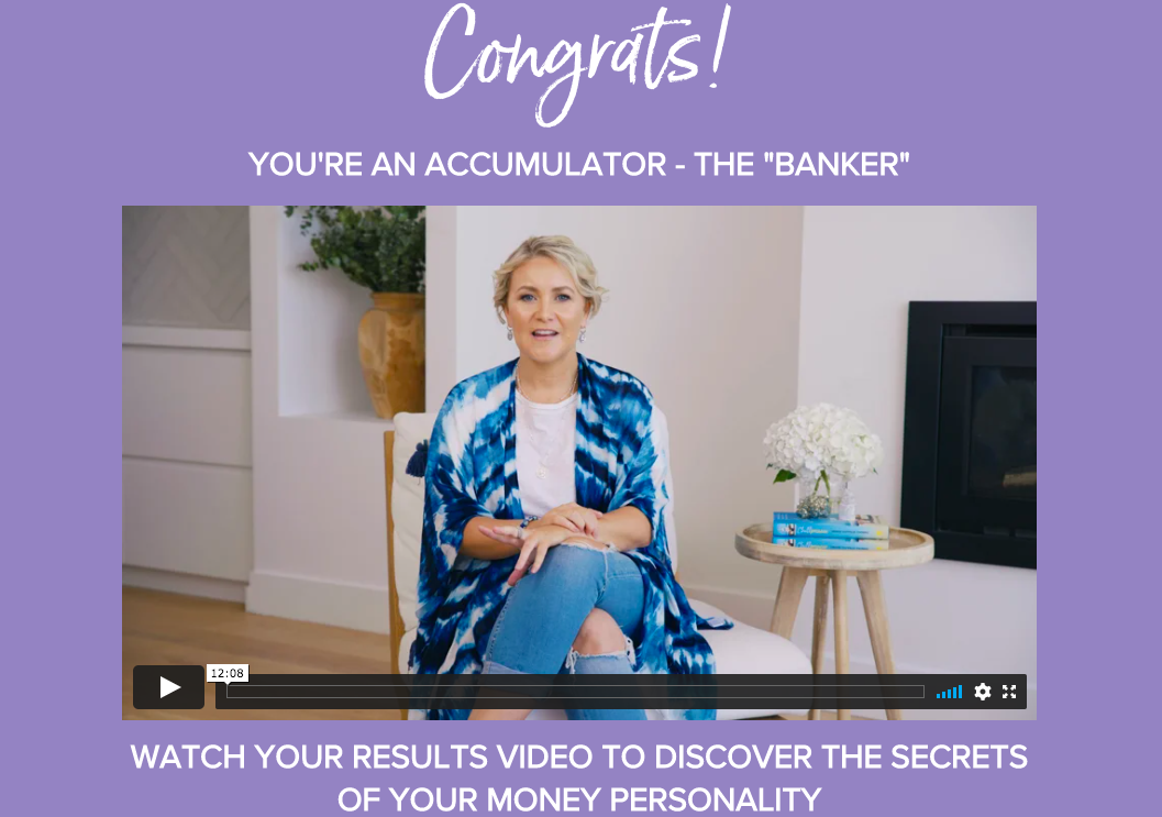money personality quiz results page for an Accumulator result with video