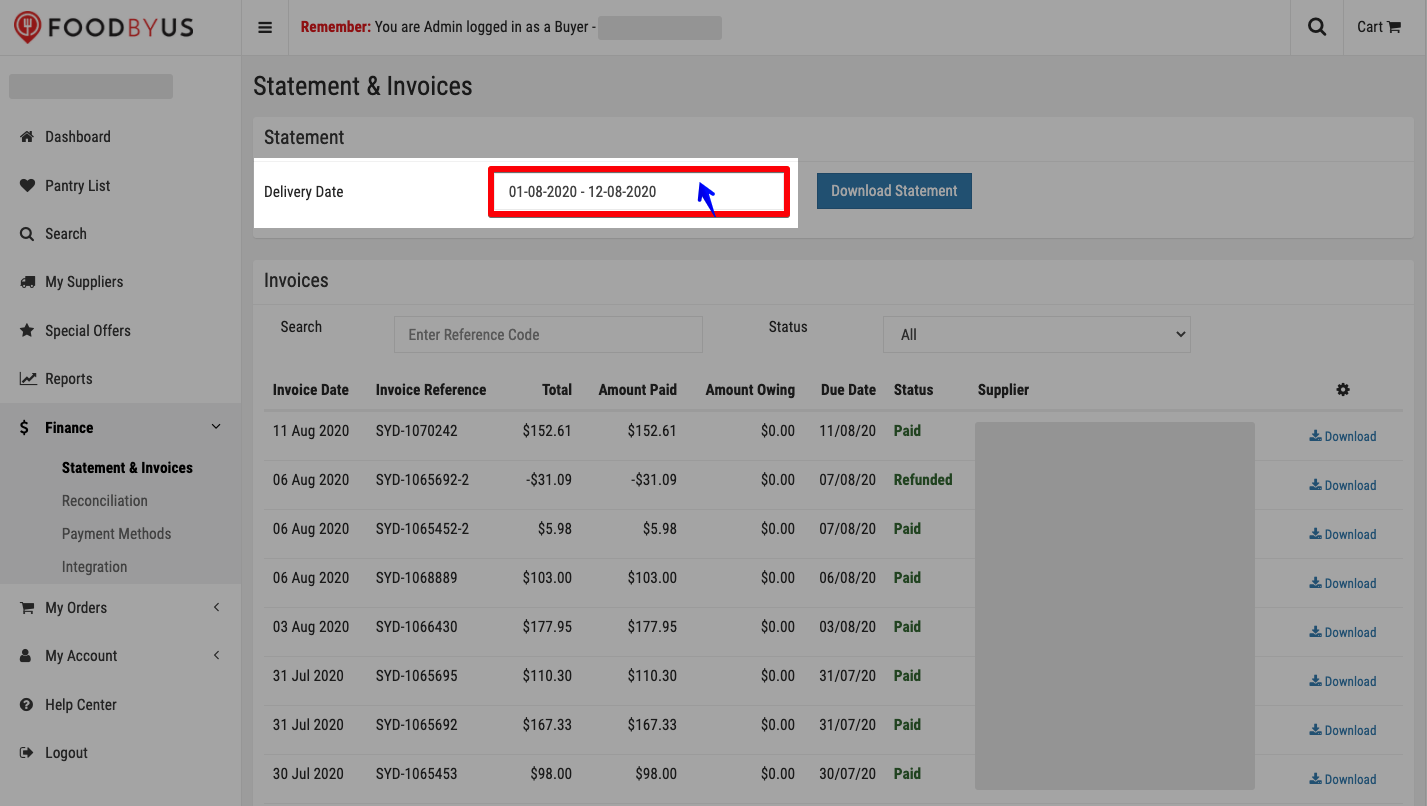 FoodByUs_dashboard_statement_and_invoices_delivery_date