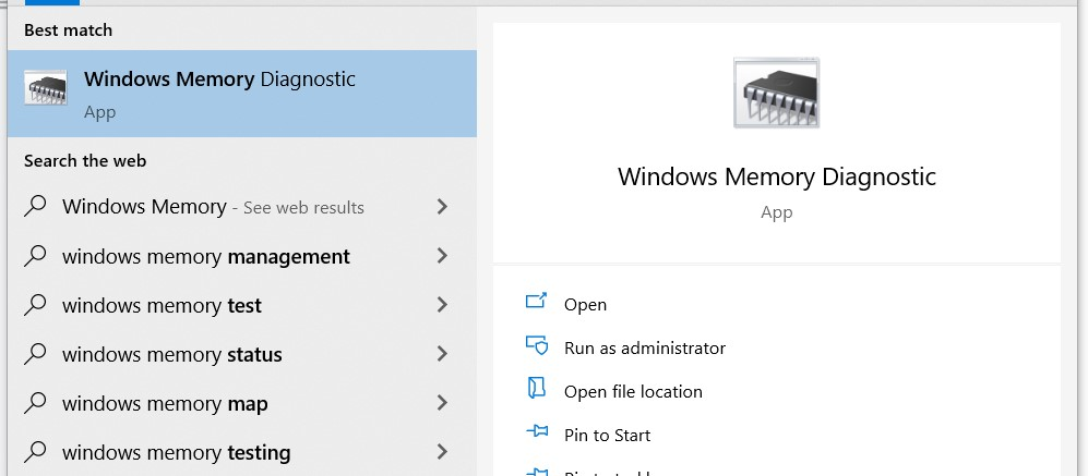 Search for Windows Memory Diagnostic in the search bar on your Task Bar.
