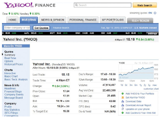 The following quote on Yahoo! stock appeared on April 13, 2010, on Yahoo! Finance: