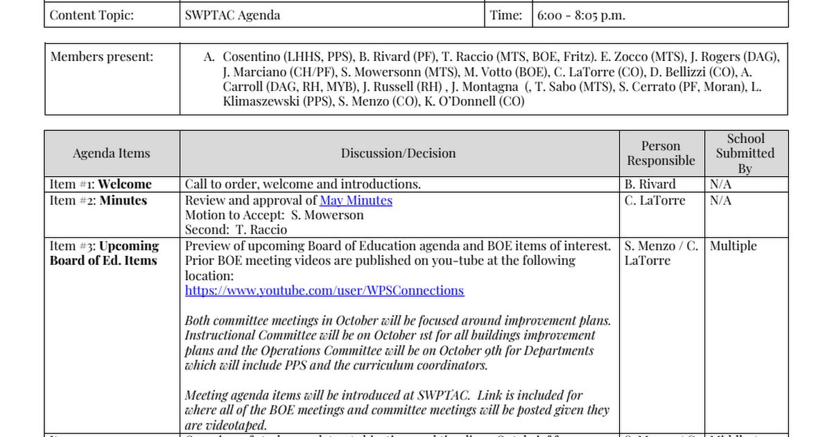 PTAC Agenda and Minutes - September 2018 pdf - Google Drive