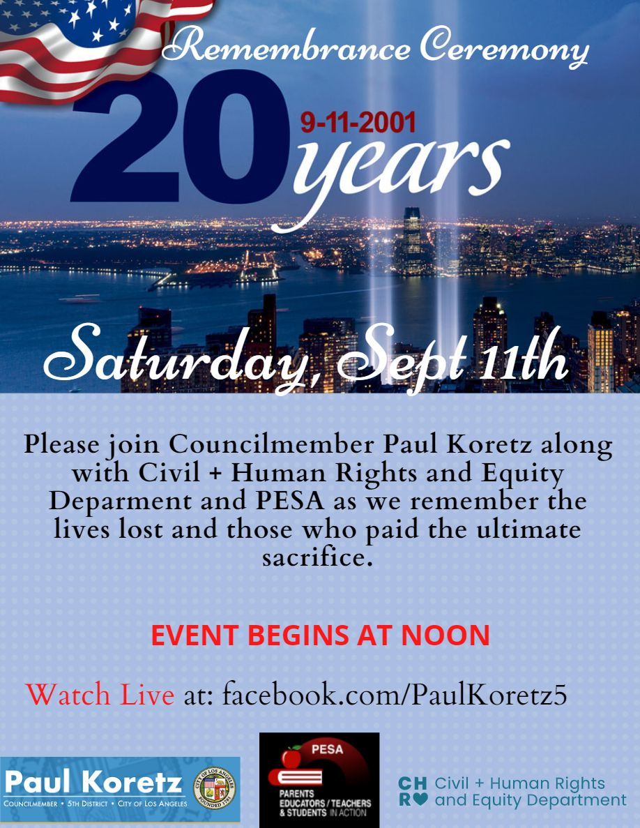 9/11 2oth Anniversary Remembrance Ceremony Koretz Facebook page