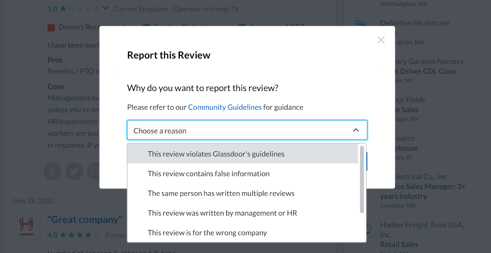 Dropdown menu to report Glassdoor Review
