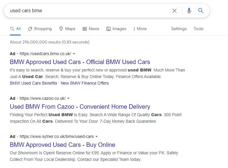 BMW Used Car Google Listings