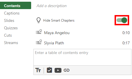 Image of the Contents tab in the editor that highlights the Smart Chapters toggle button.