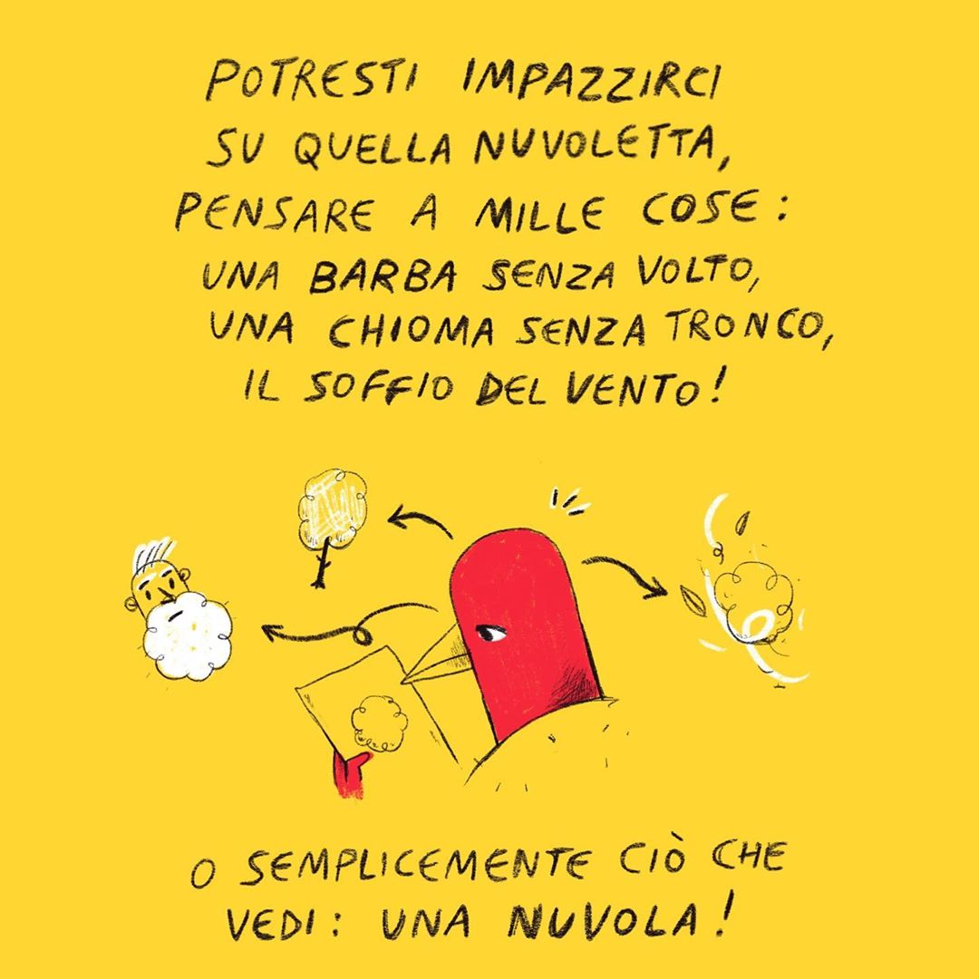 Comic strip di @labadessa su Instagram che diventa long-form tramite multi-image.
