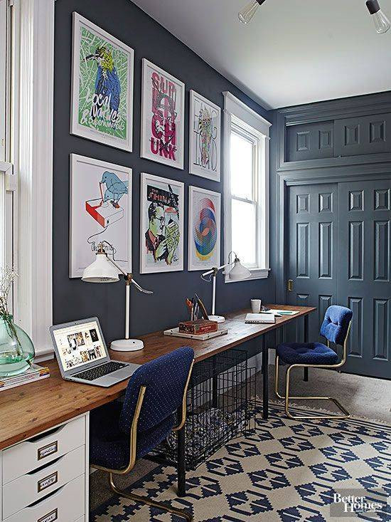 home office design inspiration moody navy workspace
