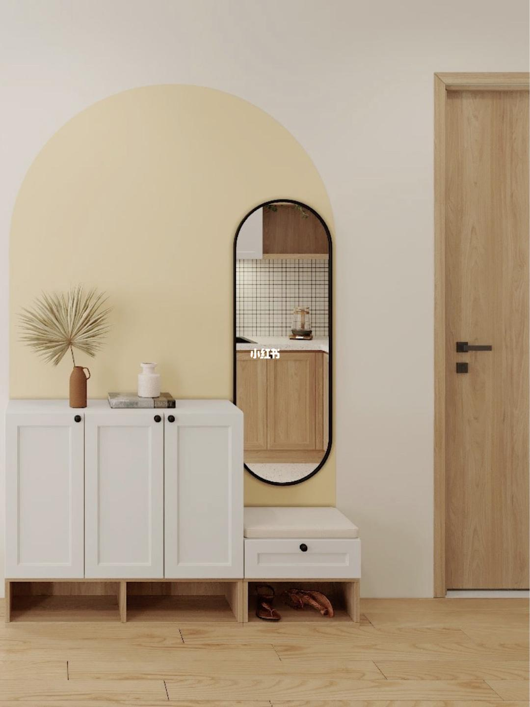 玄关这里的小设计感,出门前还可以先照个镜子_okjer.com