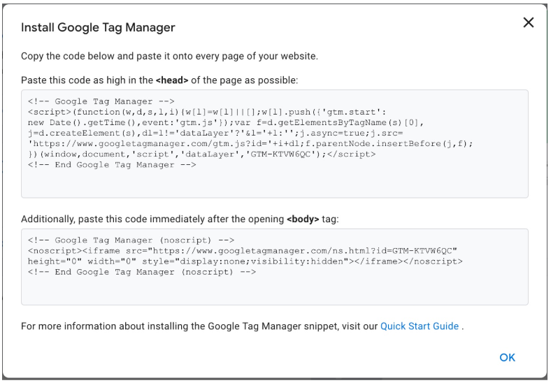 code snippet for Google Tag Manager