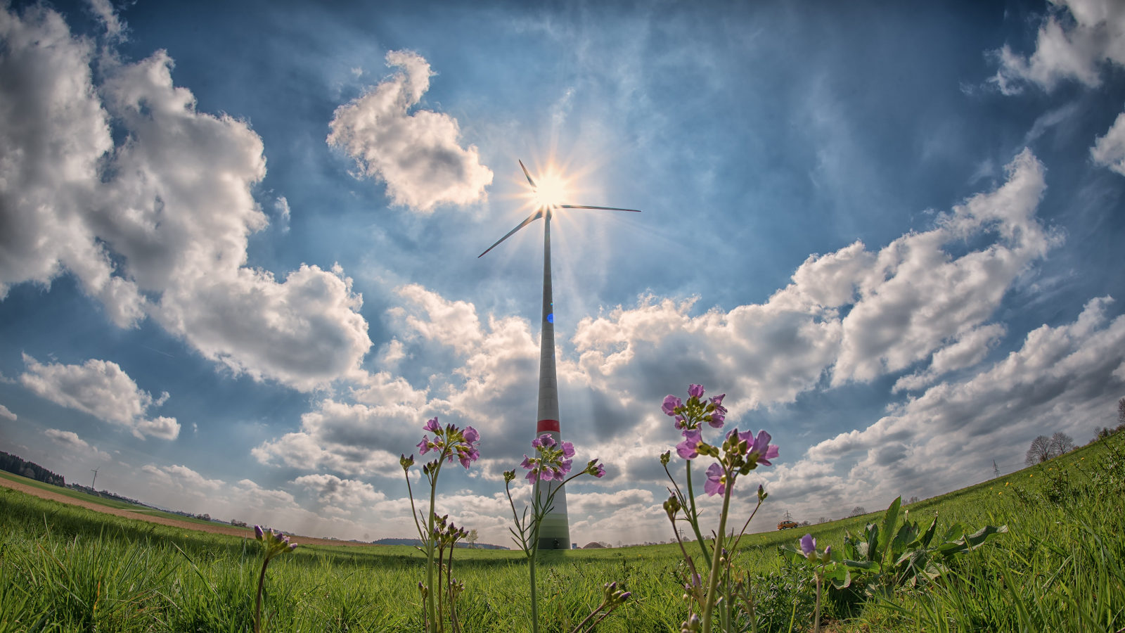 a wind turbine prototype towers into the sunny sky