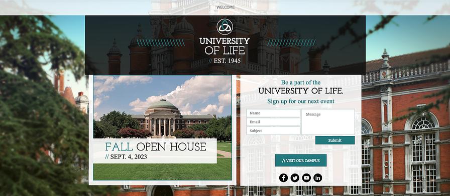 University là một mẫu landing page có bố cục phù hợp giúp bạn thu hút học viên