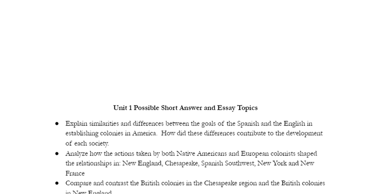 colonial period from 1607 to 1750 essay  unit 2: colonization (1607 - 1754 unit thesis: europeans and american indians maneuvered and fought for dominance, control, and security in north america, and distinctive colonial and native societies emerged.