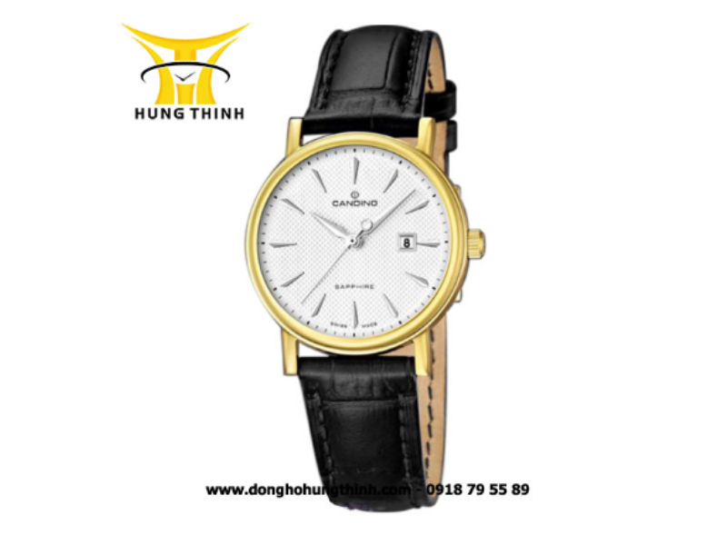 Dây da đồng hồ Candino màu đen dành cho những ai yêu sự hiện đại, trẻ trung