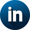 circle, high quality, linkedin, long shadow, media, social, social media icon