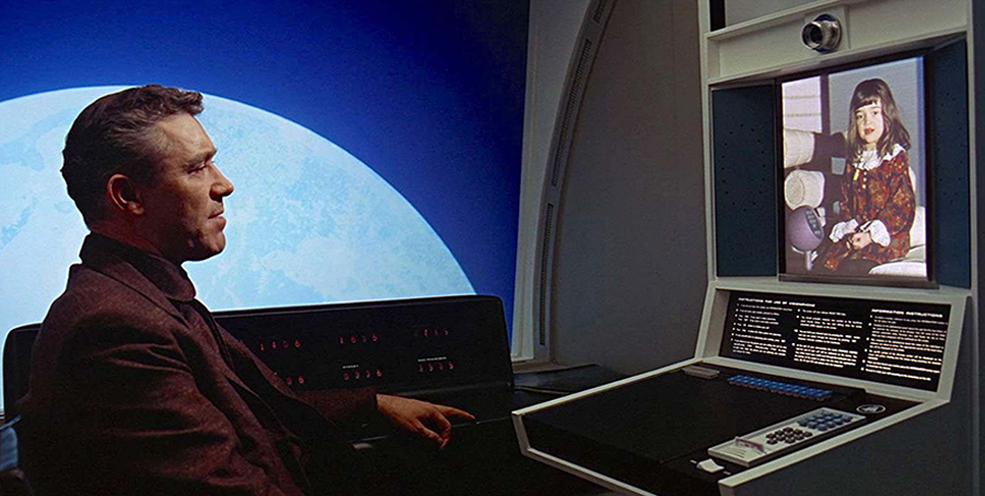 2001: A Space Odyssey, a man makes a call to his daughter via video.
