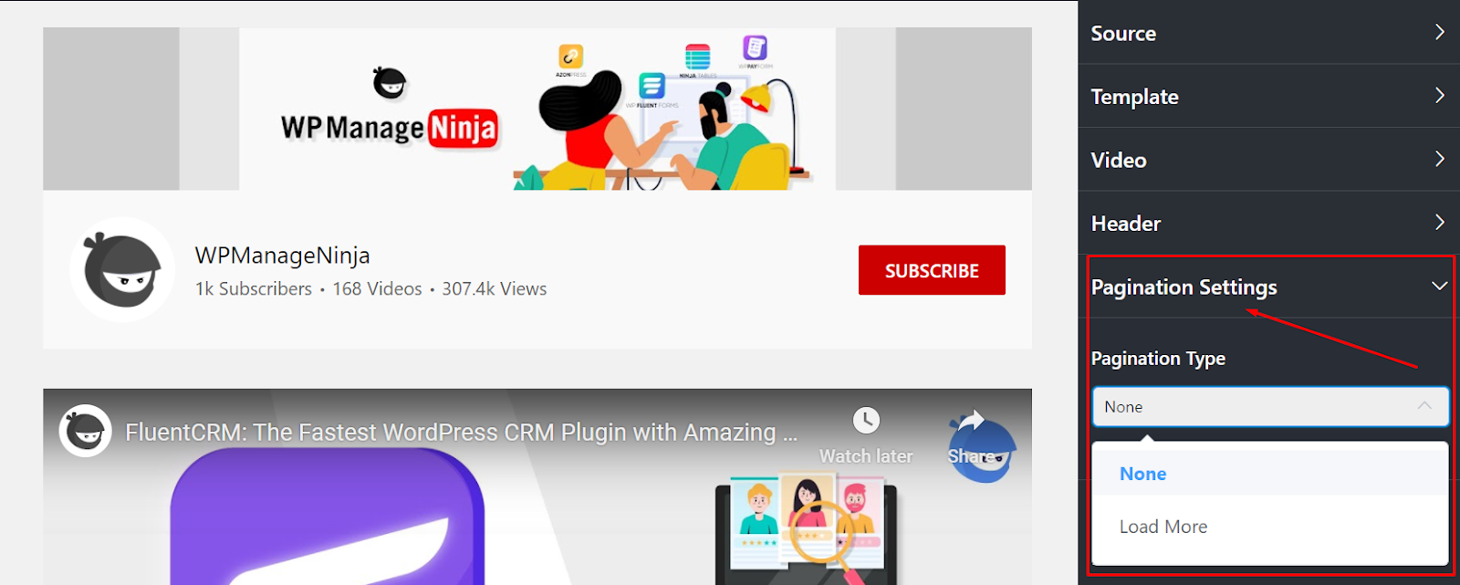 YouTube Pagination settings