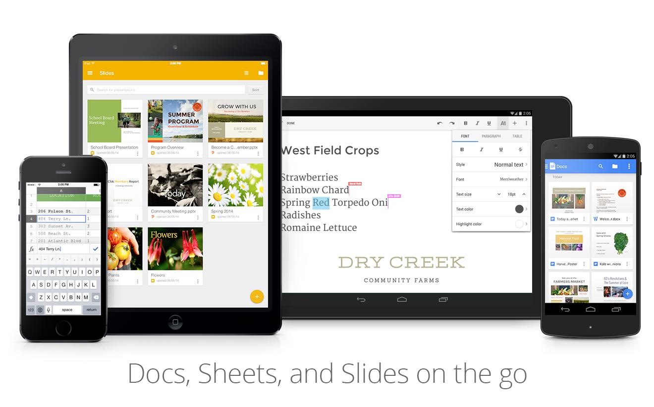 Google Docs, Sheets, and Slides mobile images