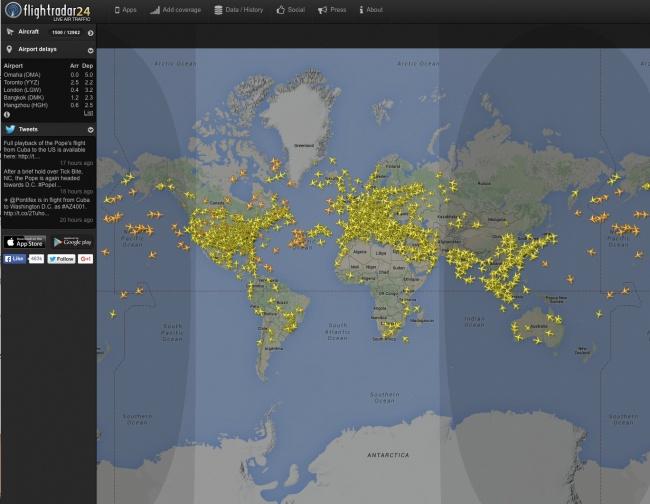 Este sitio te permite ver todos los vuelos comerciales alrededor del mundo en tiempo real.