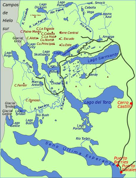Torres del Paine Karte