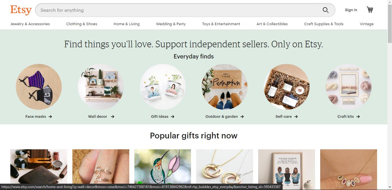 Websites Like eBay: Etsy