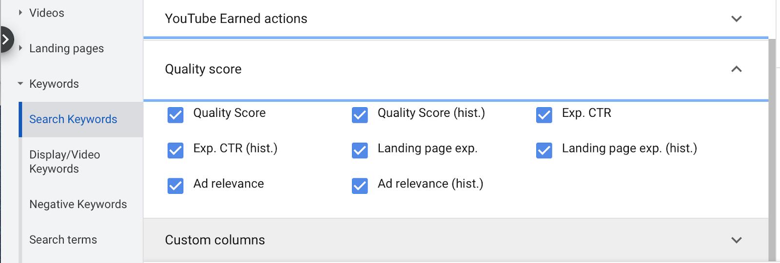 Adding Google Ads quality score to dashboard