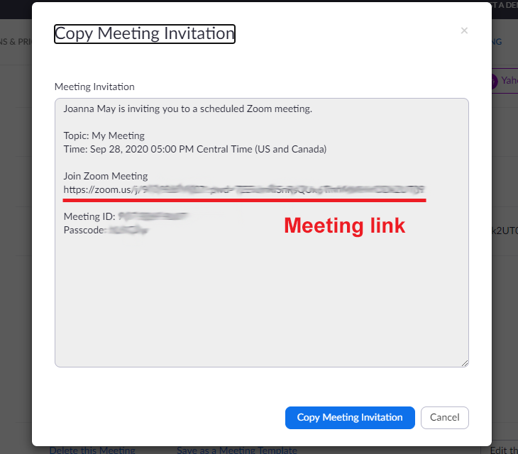 Zoom meeting invitation with link underlined in red
