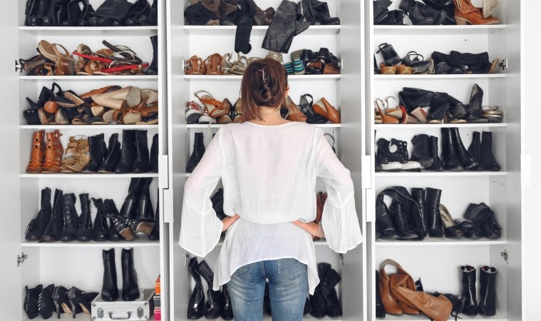 Shoe racks can make organizing your shoes much easier.