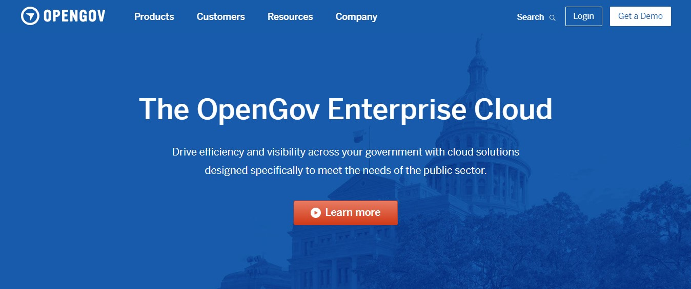 OpenGov's landing page.