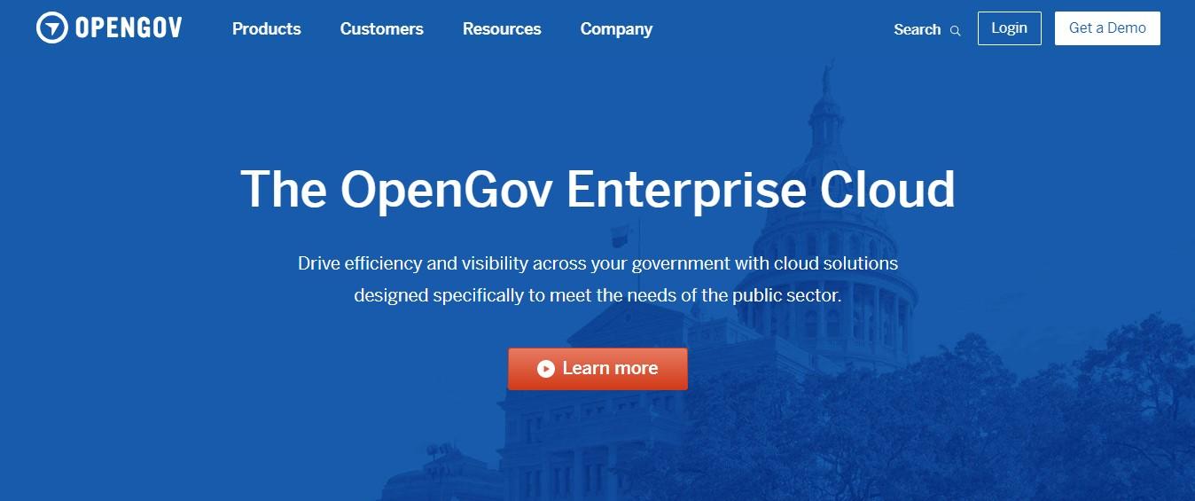 Página de destino de OpenGov.