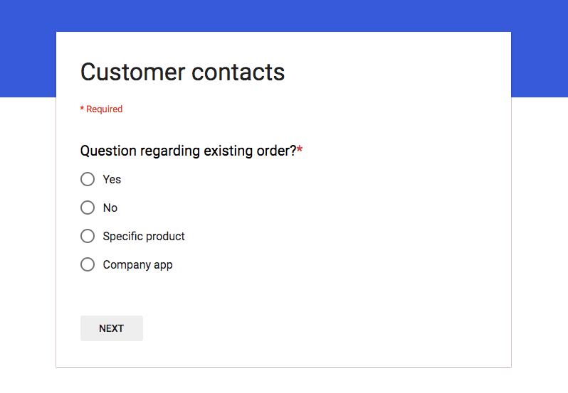 Google Form that we made to register customer contacts