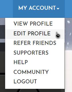 Screenshot of the My Account dropdown menu