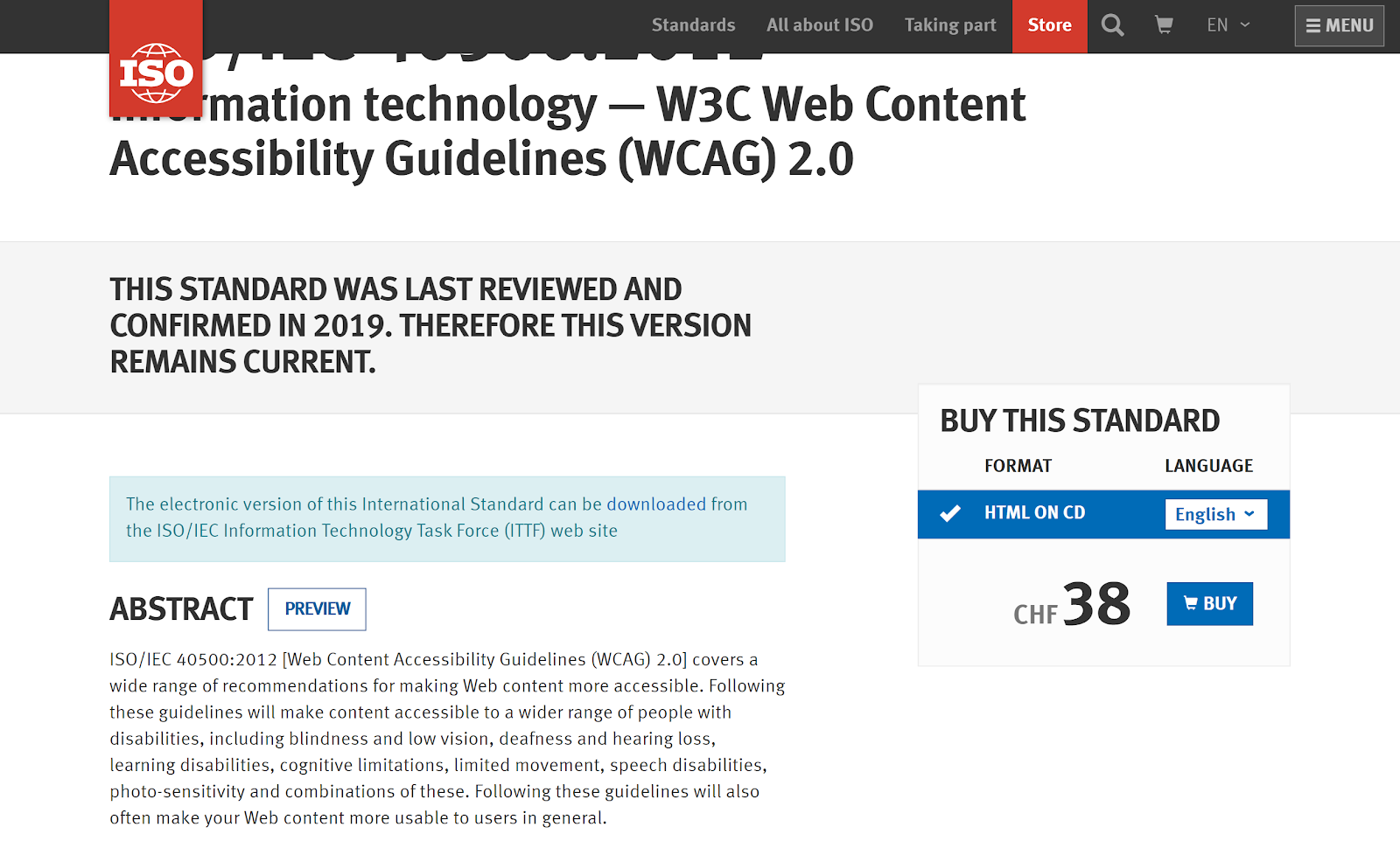 screenshot of the web design standards from ISO
