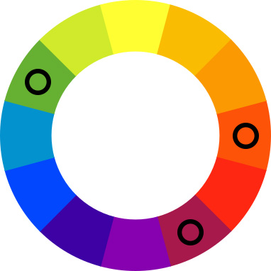 Color wheel with black spots on green, orange, and mauve.