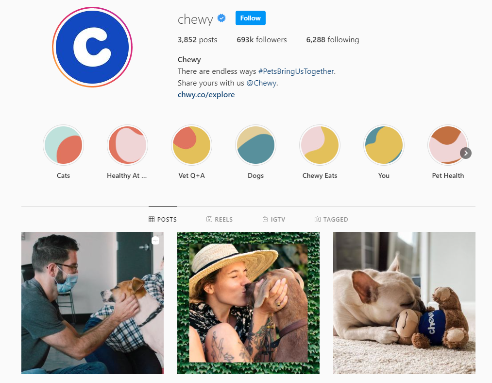 Chewy Instagram profile