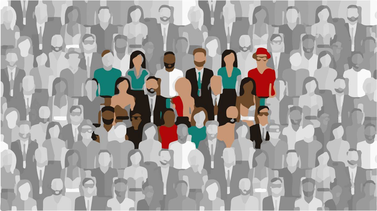 people in the crowd illustration