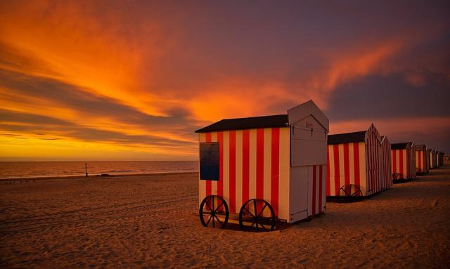 Beach houses sunset West Flanders Belgium Campspace