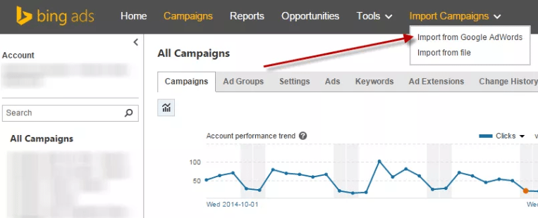 Bing Ads vs. Google AdWords import campaign
