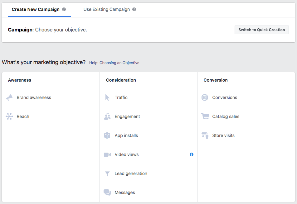 creating new campaigns on facebook.