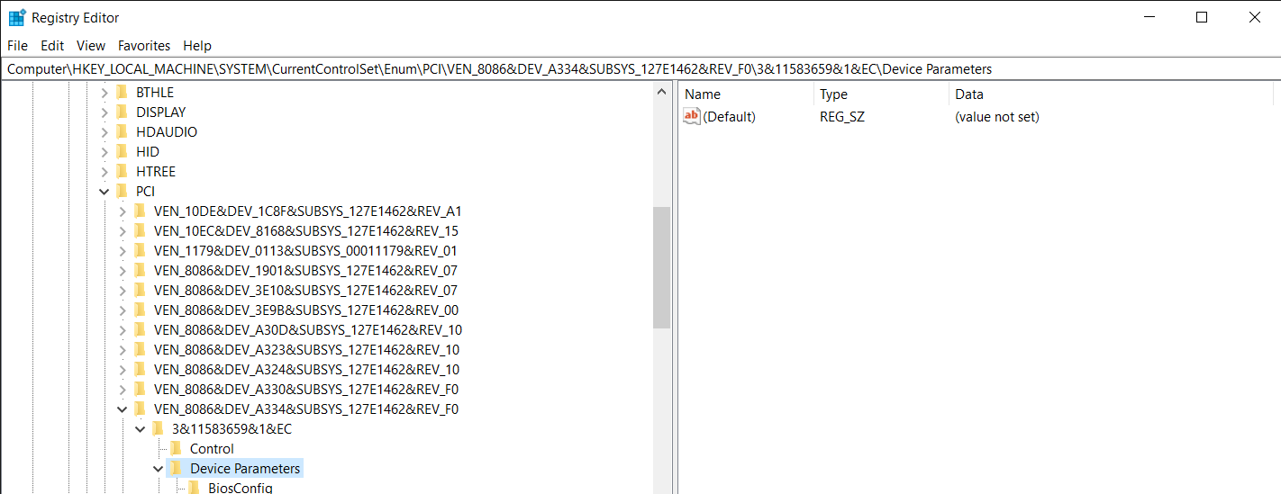 The Location of the value that has to be changed in the Registry Editor