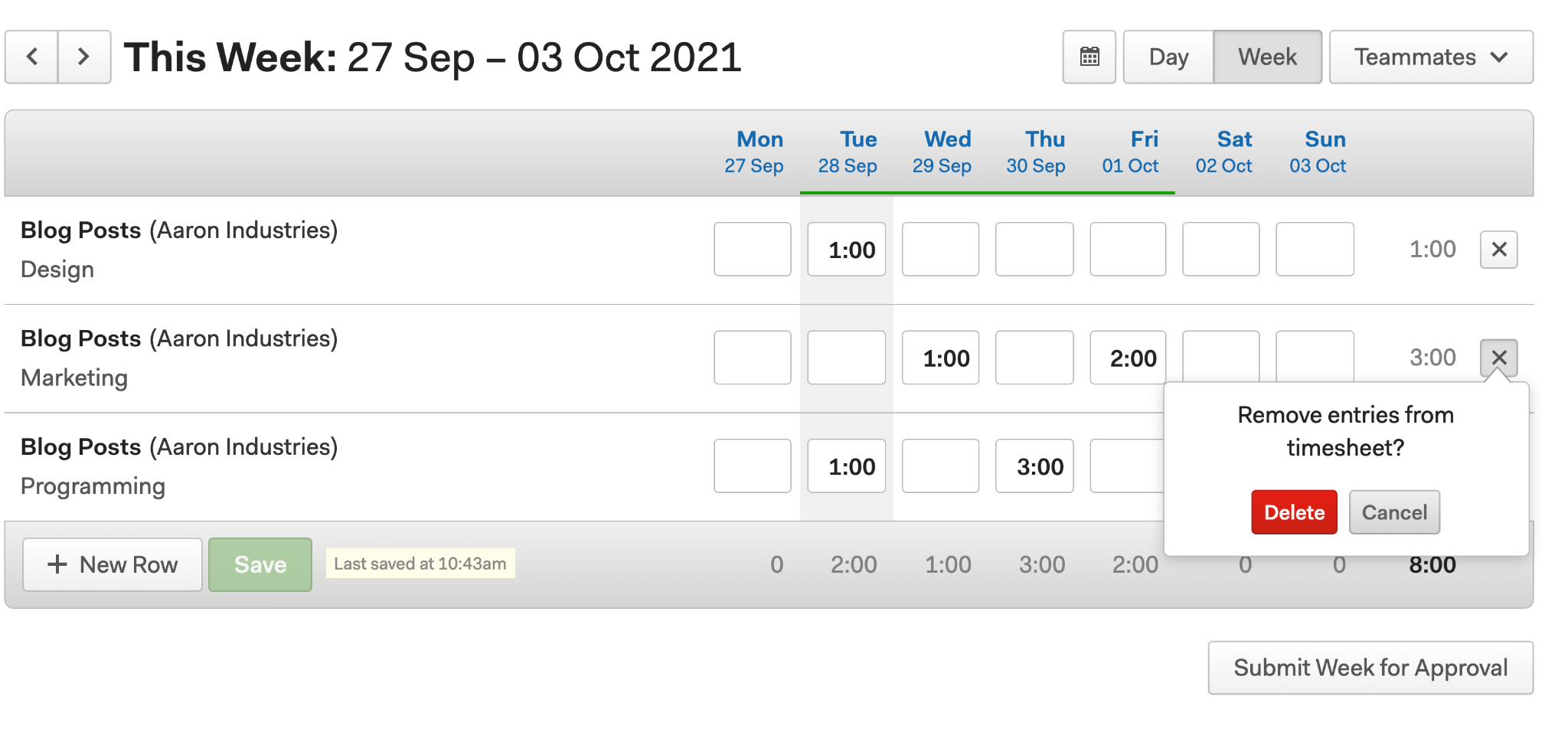 Example of deleting a row in a Harvest timesheet