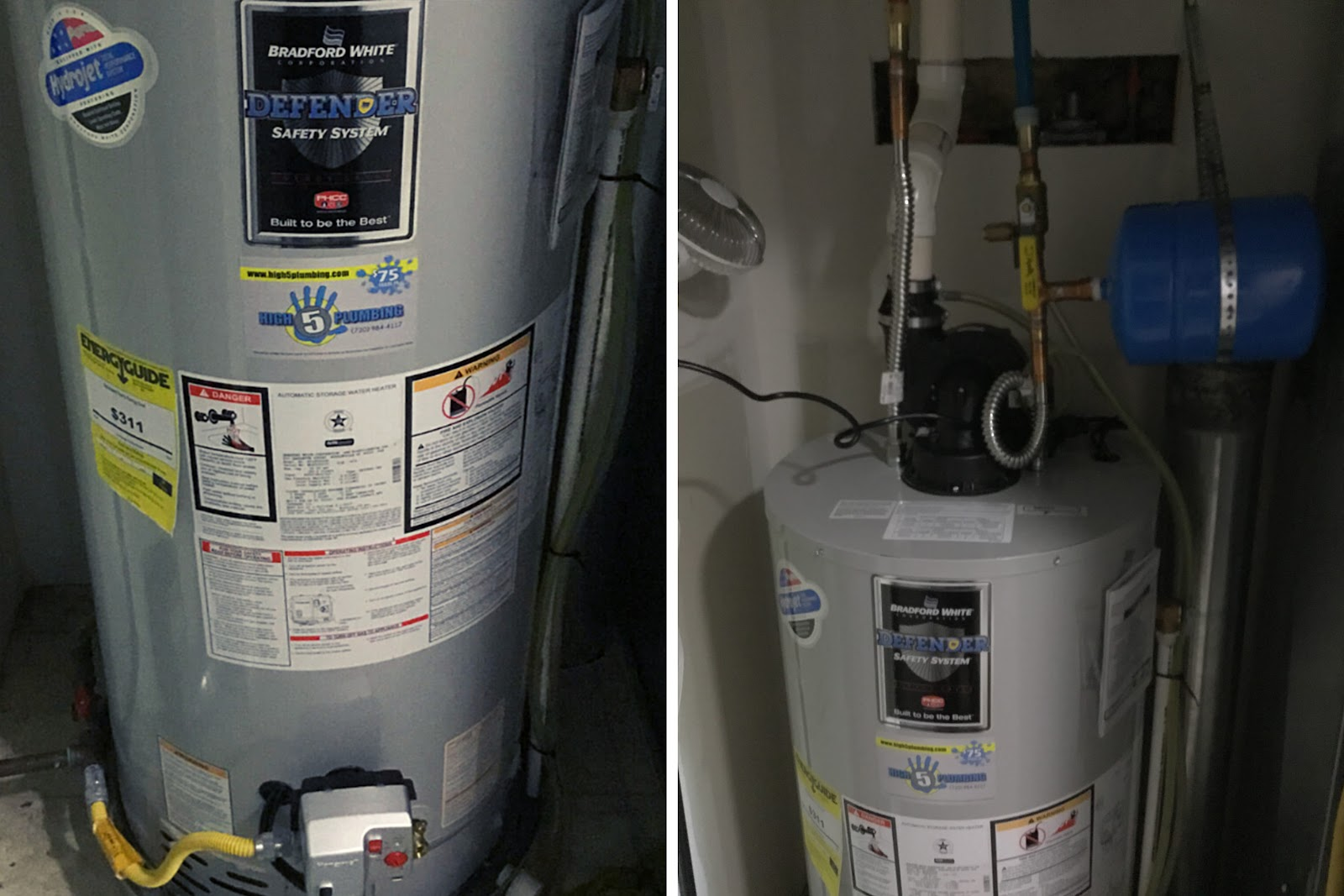 two images of a newly-installed 50-gallon tank water heater with a blue expansion tank attached above it