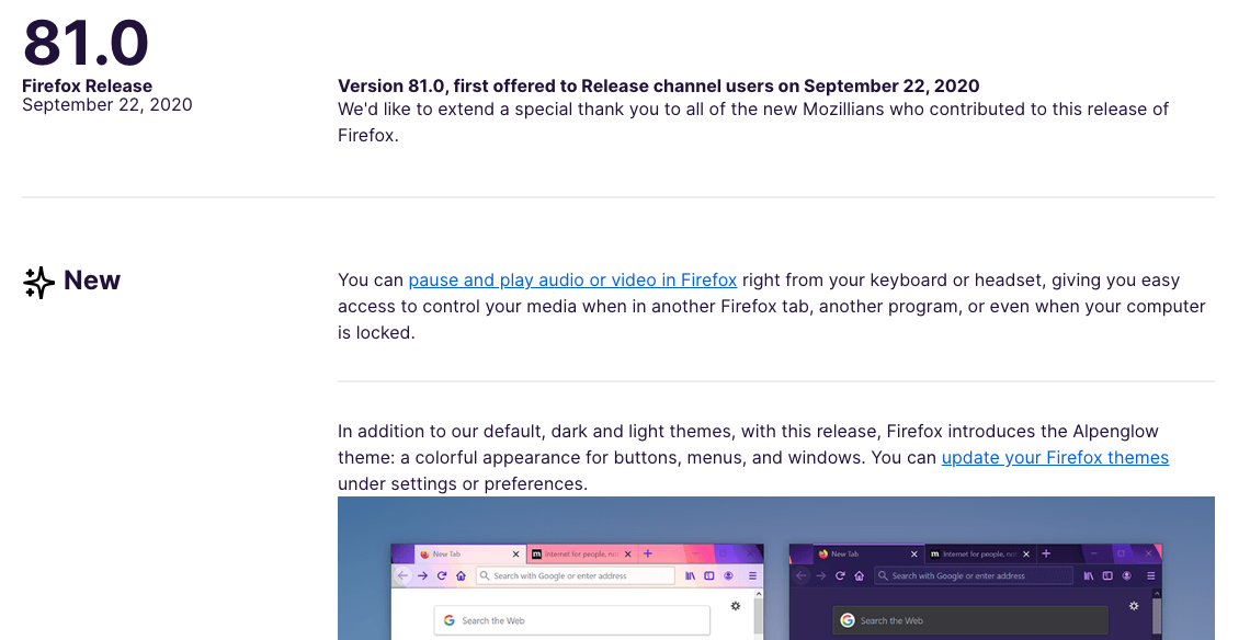 Example of Firefox's Release Notes
