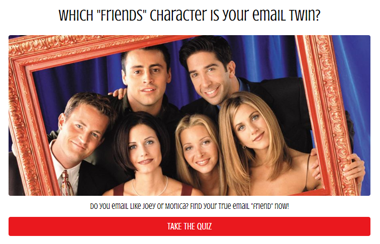 Friends email Buzzfeed style quiz cover