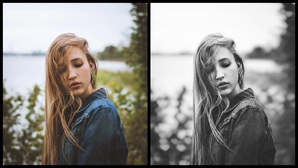 antes e depois da foto sendo que uma está preto e branco e a outra não
