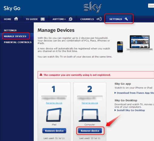 Go.sky.com devices Manage