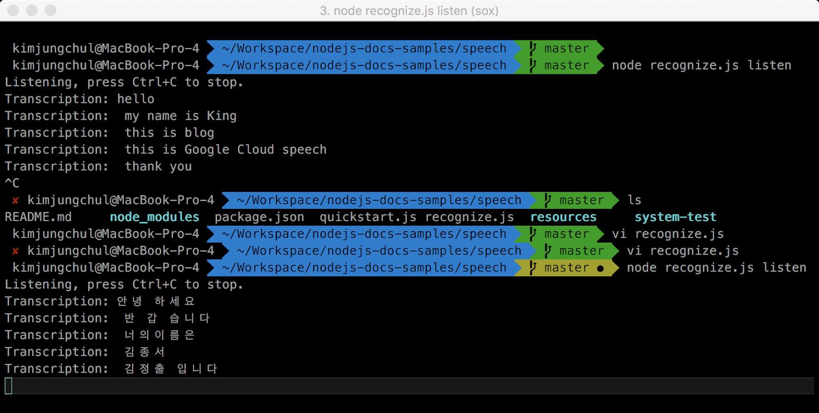 Google Cloud Speech 음성인식 API python, nodejs