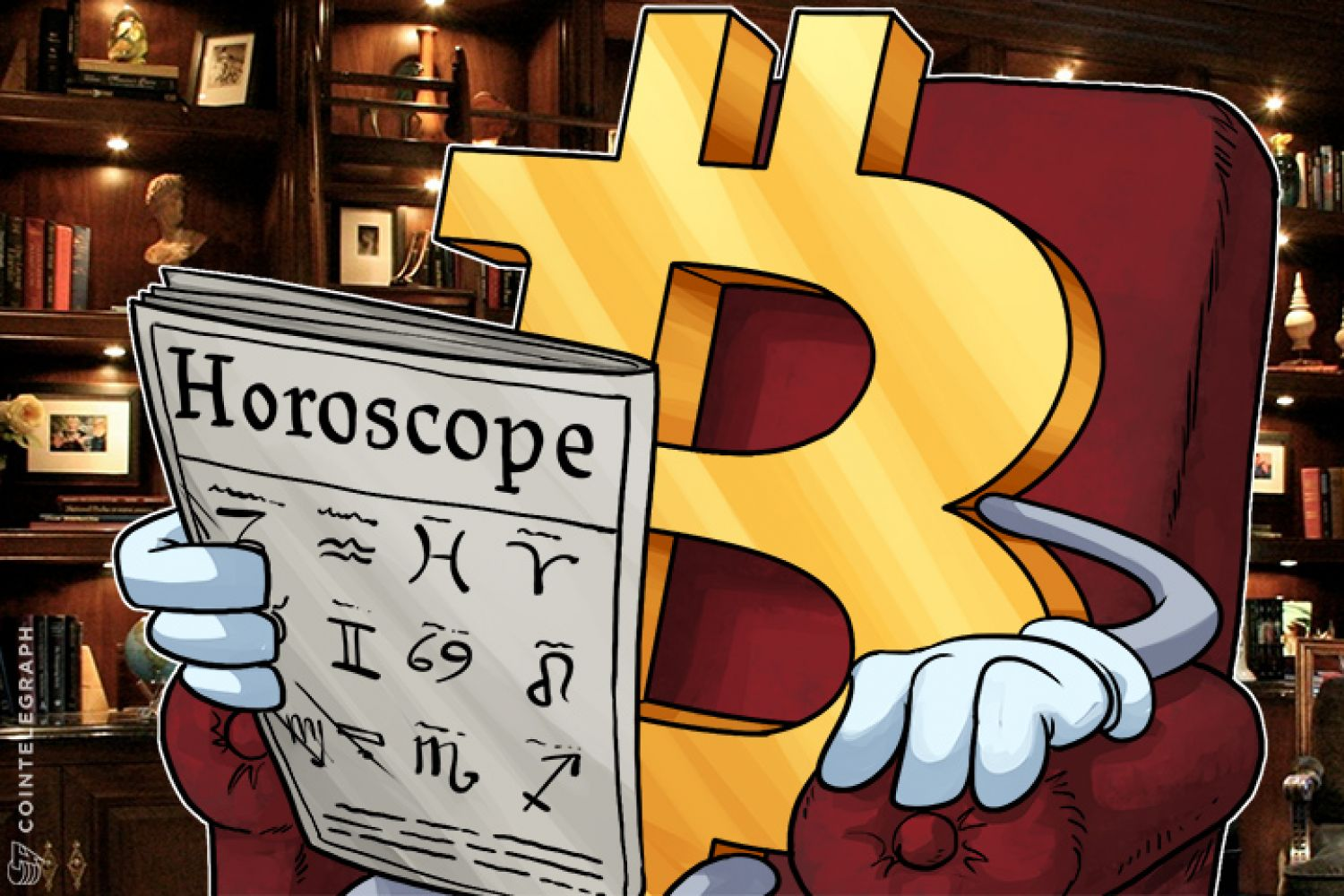 Bitcoin in an armchair reading horoscopes