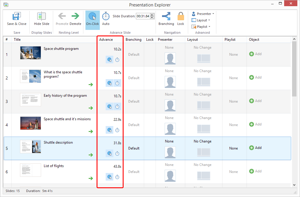 iSpring Presentation Explorer window, where you can set slide advance type (on click, automatic) and slide timings.
